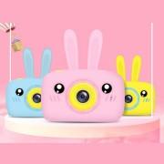"""Детский фотоаппарат + чехол """"Зайчик"""" (съемка видео, экран 2"""", microSD, игры), розовый"""