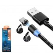 Универсальный USB Кабель 3в1 iPhone 7 + Micro USB + TYPE-C, Lider Mobile CB-37, магнитный, черный
