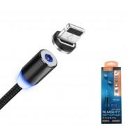 Кабель для iPhone 5/6/7, магнитный Lider Mobile CB-37, 2.4A, быстрый заряд, черный
