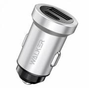 AЗУ WALKER WCR-25, 3А, 36Вт, USBx1/Type-Cx1, быстрая зарядка QC 3.0+PD, блочок, серебряный