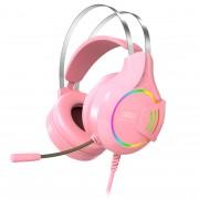 Наушники XO GE-04 полноразмерные с микрофоном, розовый
