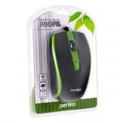 Perfeo мышь оптическая PROFIL, 4 кн, USB, черно-зеленый