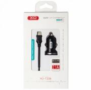 АЗУ XO TZ08 2 USB разъема (2.1A) блочок + кабель Apple IPhone 5/6/7, черный