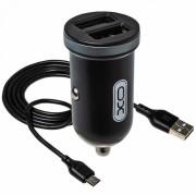 АЗУ XO TZ08 2 USB разъема (2.1A) блочок + кабель Micro, черный