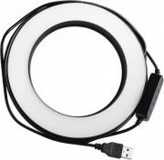 Круговая лампа для селфи 16 см, LiveStream (USB, 3 реж. света, регулировка яркости, держат.), черный