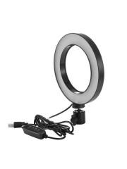 Круговая лампа для селфи 16 см, (USB, 3 режима света, регулировка яркости, держатель), черный
