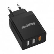 СЗУ SmartBuy® FLASH, 2x2.4 А + 1xQC 3.0, 3 USB (SBP-3030) черный