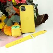 Подарочный набор для iPhone 11 Pro Max: чехол+ремешок Watch 38-40mm+кейс AirPods, №04 желтый