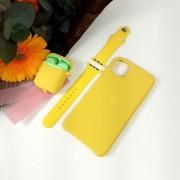 Подарочный набор для iPhone 11 Pro: чехол+ремешок для Watch 42-44mm+кейс AirPods, №04 желтый