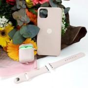 Подарочный набор для iPhone 11 Pro: чехол+ремешок для Watch 38-40mm+кейс AirPods, №19 песочно-розовы