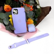 Подарочный набор для iPhone 11 Pro Max: чехол+ремешок Watch 38-40mm+кейс AirPods, №41 аметист