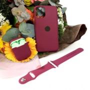 Подарочный набор для iPhone 11 Pro: чехол+ремешок для Watch 38-40mm+кейс AirPods, №52 фиол. виноград
