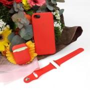 Подарочный набор для iPhone 7/8: чехол+ремешок для Watch 38-40mm+кейс AirPods, №14 красный