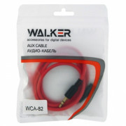 Walker Кабель Jack 3.5 мм вилка - Jack 3.5 мм вилка (AUX), WCA-082, красный, 1м, рифленый