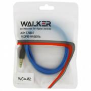 Walker Кабель Jack 3.5 мм вилка - Jack 3.5 мм вилка (AUX), WCA-082, синий, 1м, рифленый