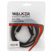 Walker Кабель Jack 3.5 мм вилка - Jack 3.5 мм вилка (AUX), WCA-082, черный, 1м, рифленый