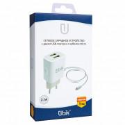 СЗУ Встроенный кабель Micro порт USBx2 Белый 2,1А UHS22M Ubik