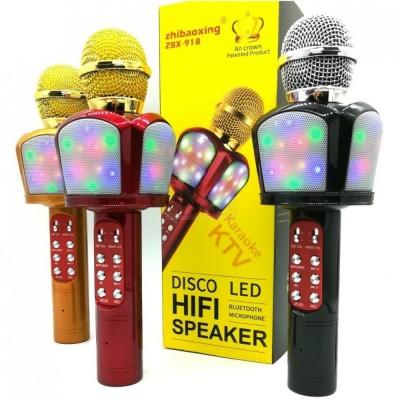Микрофон-колонка ZBX-918 Bluetooth + FM + SD micro + USB + AUX, золотая