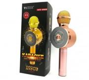 Микрофон-колонка WS-668 Bluetooth + FM + SD micro + USB + AUX, золотисто-розовый