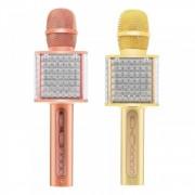 Микрофон-колонка YS-86 Bluetooth + FM + SD micro + USB + AUX, золотисто-розовая