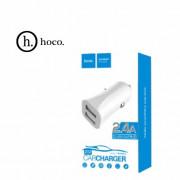 Z12 Автомобильное зарядное устройство Hoco Elite 2USB, 2.4A, белое