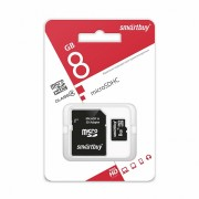 Micro SD  8GB Smartbuy (Сlass 4) с адаптером SD (SB8GBSDCL4-01)