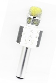 Микрофон-колонка WS-858 Bluetooth + FM + SD micro + USB + AUX, золотисто-розовый