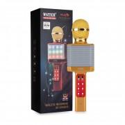Микрофон-колонка WS-1828 Bluetooth + FM + SD micro + USB + AUX, золотой