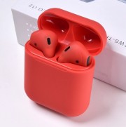 Гарнитура Bluetooth Apple AirPods TWS i12-PE, красные, soft toch ,чехол в комплете