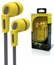 Внутриканальные наушники Smartbuy Mob, плоский кабель, сменные насадки, желт/серые (SBE-880)
