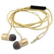 """Наушники Walker H720 """"Металл"""", золотые, с микрофоном и кнопкой ответа (матерчатый провод)"""