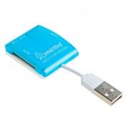 Smartbuy Картридер USB 2.0 SD/microSD/MS/M2 713 голубой (SBR-713-B)