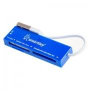 Smartbuy Картридер USB 2.0 SD/microSD/MS/M2 717 голубой (SBR-717-B)