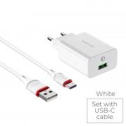 СЗУ USB Borofone BA21A  с кабелем Micro USB 3A, QC3.0,18W, белый