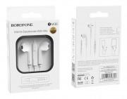 Наушники Borofone BM30 Original series Wire Control Earphone, с микрофоном, белые