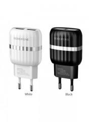 СЗУ USB Borofone BA24A с кабелем Type-C 2.4A, черное