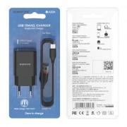 СЗУ USB Borofone BA20A  с кабелем iPhone 5, 2.1A, черный