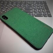 Чехол-накладка для iPhone X деним, Memumi Canvas, зеленый