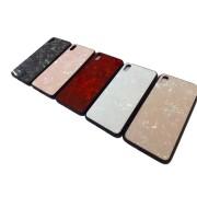 Чехол-накладка для Huawei Honor 8X, мраморный с блёстками, силиконовый, белый