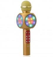 Микрофон-колонка WS-1816 Bluetooth + FM + SD micro + USB + AUX, золотой