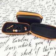 Чехол для наушников №2 прямоугольный, черно-оранжевый