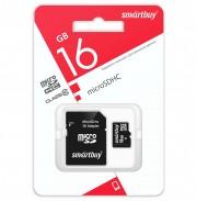 Micro SD 16GB Smartbuy (Class 10) с адаптером LE (SB16GBSDCL10-01LE)