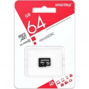 Micro SD 64GB  SmartBuy (Class 10)  без адаптера LE (SB64GBSDCL10-00LE)