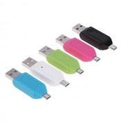 Картридер OTG (microUSB, microSD, USB-IN, USB-OUT), зеленый