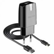 СЗУ Walker  2в1 WH-21 USB (2А) + кабель Type-C, черное
