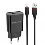 СЗУ USB Borofone BA20A  с кабелем Micro USB 2.1A,  черное