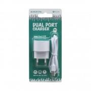 СЗУ USB Borofone BA23A  с кабелем iPhone 5, 2.4A, 2USB, белый