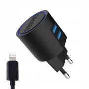 СЗУ Vidvie PLE 201 2USB + кабель для iPhone 5/6, 2.1A, черный