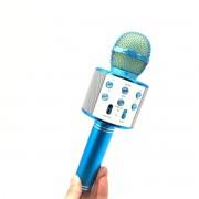 Микрофон-колонка WS-858 Bluetooth + FM + SD micro + USB + AUX, синяя