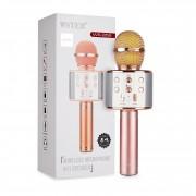 Микрофон-колонка WS-858 Bluetooth + FM + SD micro + USB + AUX, розовая